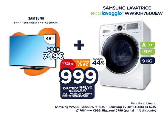 SAMSUNG lavatrice ww90h7600ew + smart businesstv 48